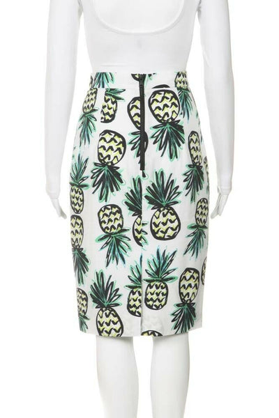White Green Pineapple Pencil Skirt Size 2