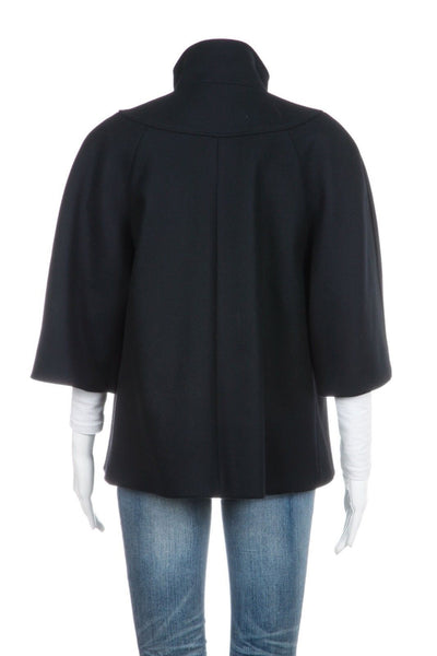 DEREK LAM Black Wool Cashmere Short Cape Peacoat Cropped Size 6 (New)