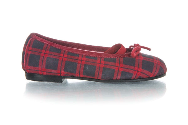 JACADI Mary Jane Blue Red Plaid Flats Dress Shoes Size 24 (7.5)