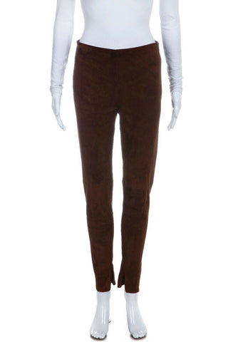 Skinny Brown Suede Lamb Leather Legging Pants Size 6