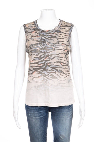 ALLSAINTS Beige Brown Animal Print Tank Top Size S