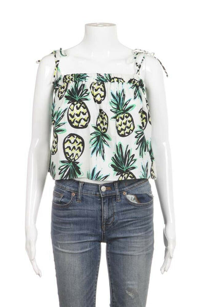 Green White Pineapple Crop Top Size 2
