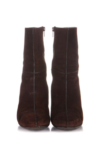 Brown Suede Leather Heels Boots Size 7