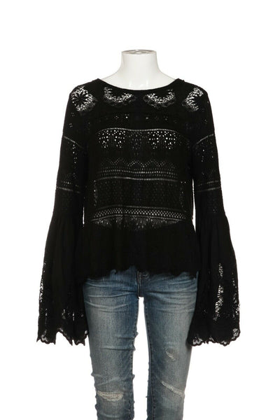 FREE PEOPLE Crochet Lace Bell Sleeve Top Size S