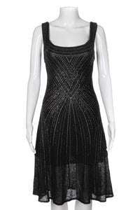 ST. JOHN Couture Black Rhinestone Bedazzled Cocktail Dress Size 6