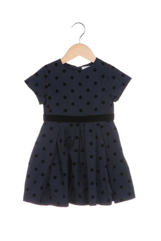 JACADI Navy Blue Toddler Dress Polka Dot Print Velvet Ribbon Tulle Size 2T