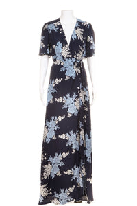 Blue Floral Mxi Wrap Dress Flutter Sleeves Size S