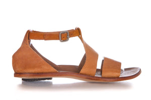 CYDWOQ Tan Brown Gladiator Leather Flat Sandals Size 37.5