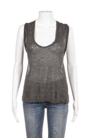 ISABEL MARANT Gray Linen Sleeveless Tank Top Size XS