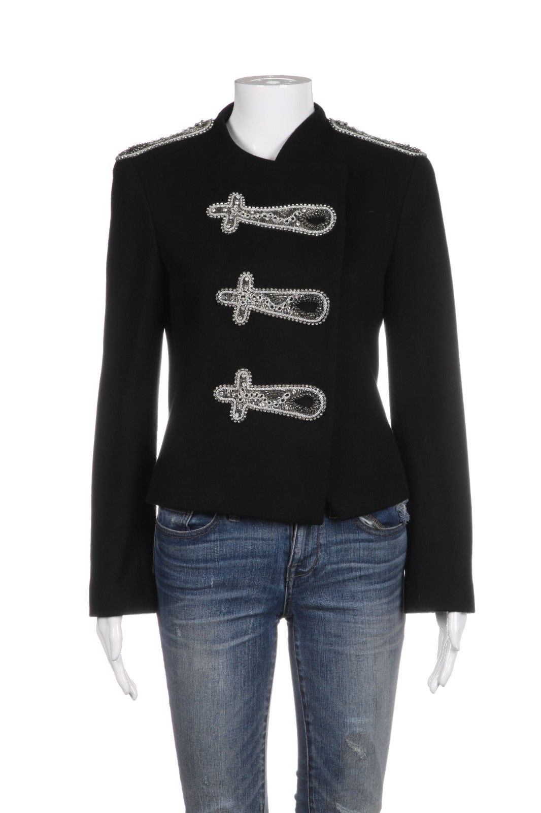 ALICE + OLIVIA Black Wool Blend Bead Embellished Military Jacket Size S