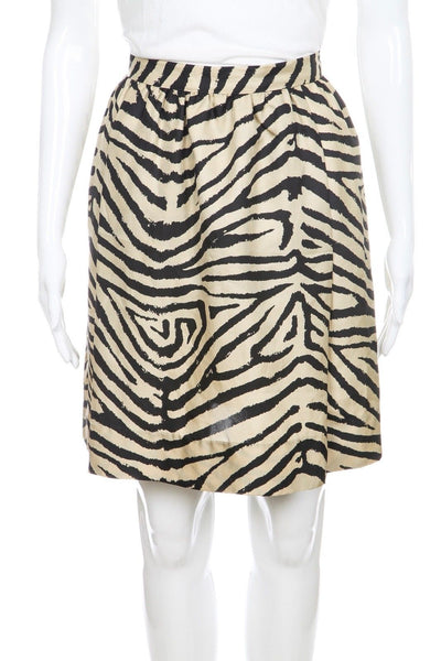 MICHAEL KORS Skirt Silk Zebra Animal Print Tan Black Size 2