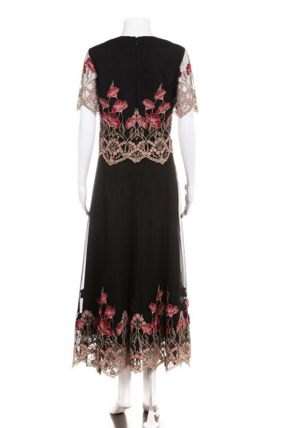 MARCHESA Notte Two Piece Gown Black Gold Red Embroidered Size 10
