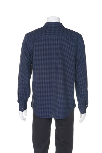 CALVIN KLEIN Non-Iron Gingham Slim Fit Shirt - back view