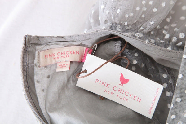 PINK CHICKEN Gray Silver Long Sleeve Polka Dot Dress Size S (New)