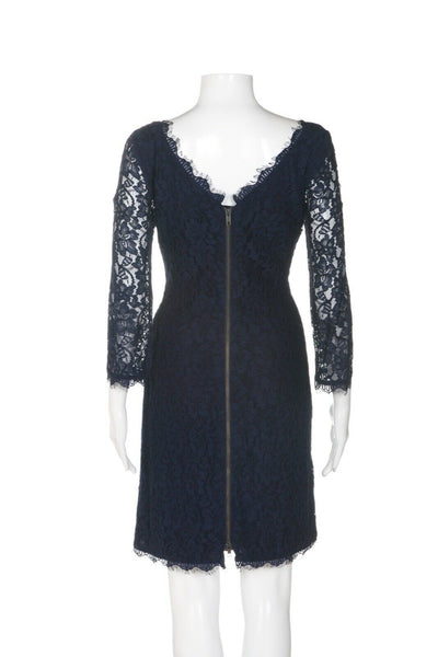 DIANE VON FURSTENBERG Lace Cocktail Dress - back view