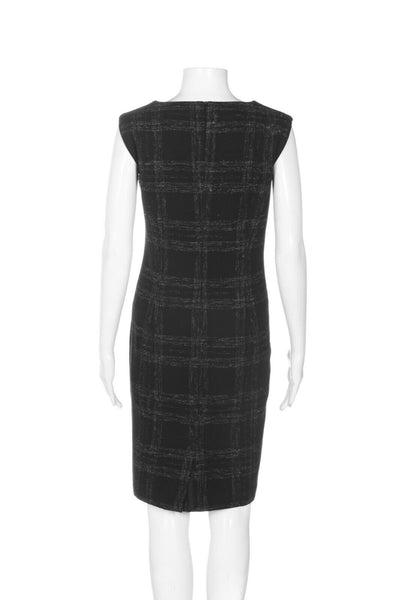 BARNEYS NEW YORK Plaid Wool Sheath Dress - back view