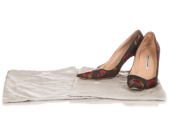 MANOLO BLAHNIK Wool Floral Pointed Pumps Size 39