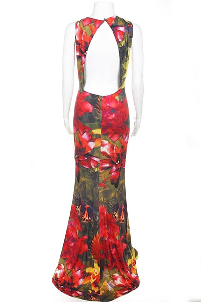 ALICE + OLIVIA Red Floral Maxi Dress Gown Open Back Size S