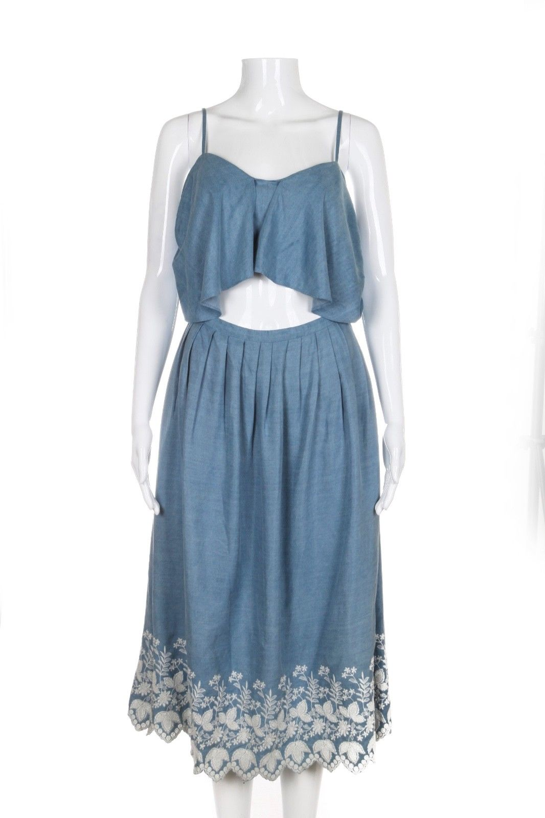LOVE SHACK FANCY Blue Light Indigo Denim Cut Out Dress Size S (New)