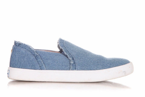 KATE SPADE Ruffled Denim Blue Slip On Sneakers Size 7.5