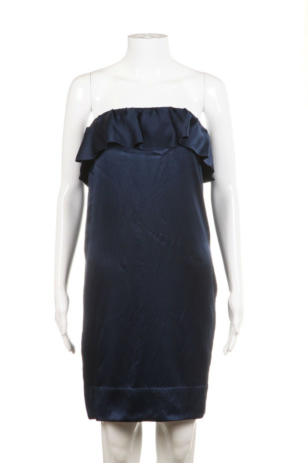 3.1 PHILLIP LIM Midnight Blue Strapless 100% Silk Dress Size 4