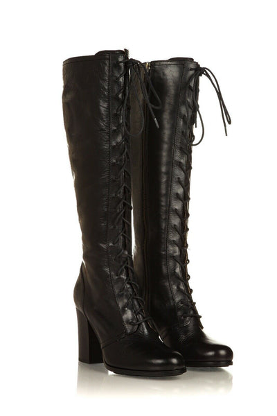 FRYE Parker Tall Heeled Leather Boots Size 8 (New)