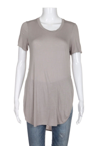 WILFRED Taupe Side Slits High Low Tee Top Size XXS