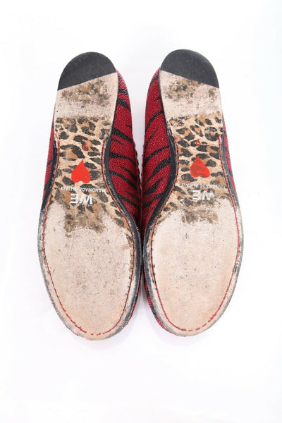 WARREN EDWARDS Tiger Stripe Print Leather Loafers Size 9