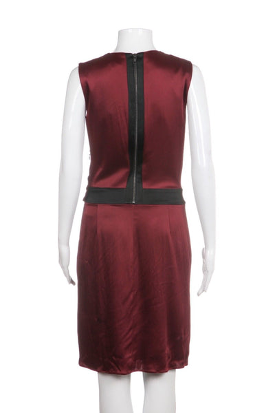 HELMUT LANG Red Sheath Draped Cocktail Dress with Black Trim Size 4