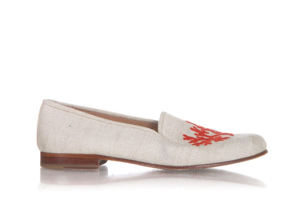 STUBBS & WOOTOON Loafers Beige Coral Reef Embroidery Size 9
