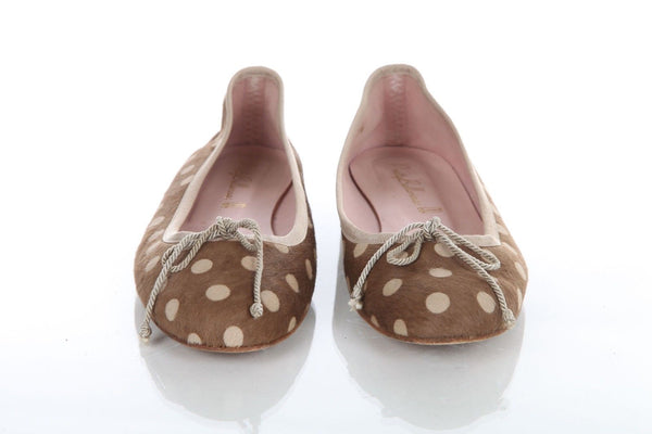 PRETTY BALLERINAS Ballet Flats Brown Polka Dot Pony Hair Size 38