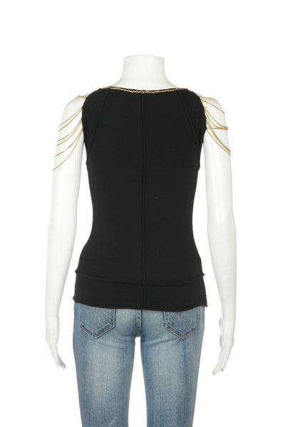 ROBERTO CAVALLI Knit Chain Accent Top Size XS