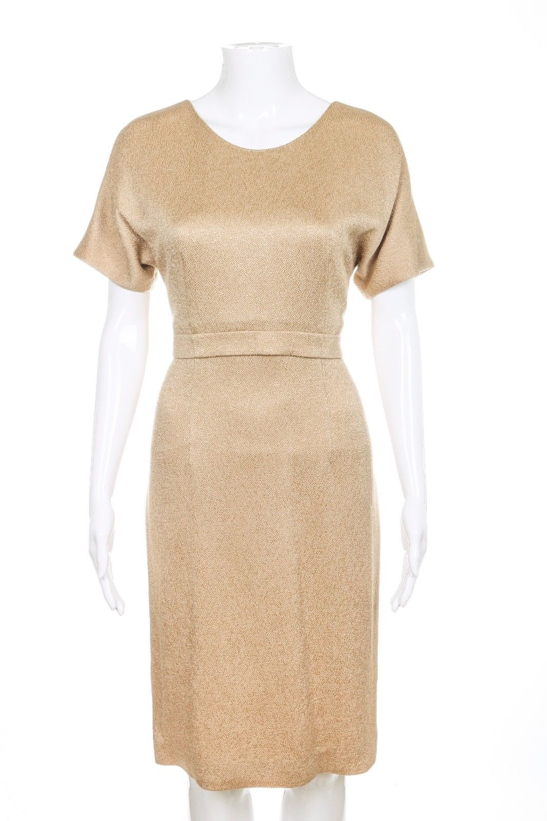 LYN DEVON Gold Textured Cocktail Dress Size 6