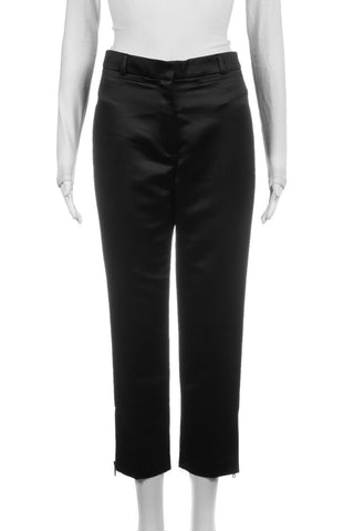 MILLY Black Cropped Satin Dress Pants Size 2 (New)