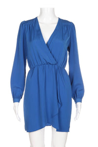 HONEY PUNCH Blue Long Sleeve Wrap Dress Size S