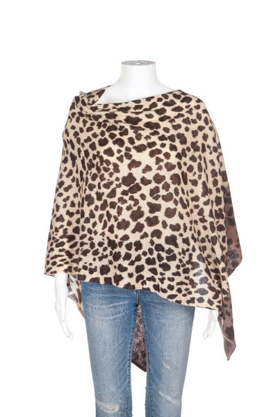 IN CASHMERE Leopard Wrap Cashmere Poncho Top (New)