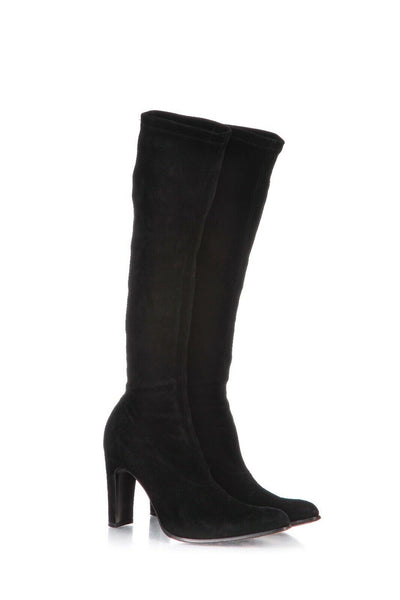 Black Suede Leather Sock Heels Boots Size 37