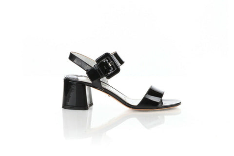 PRADA Patent Leather Block Heel Sandals Size 40 (10)