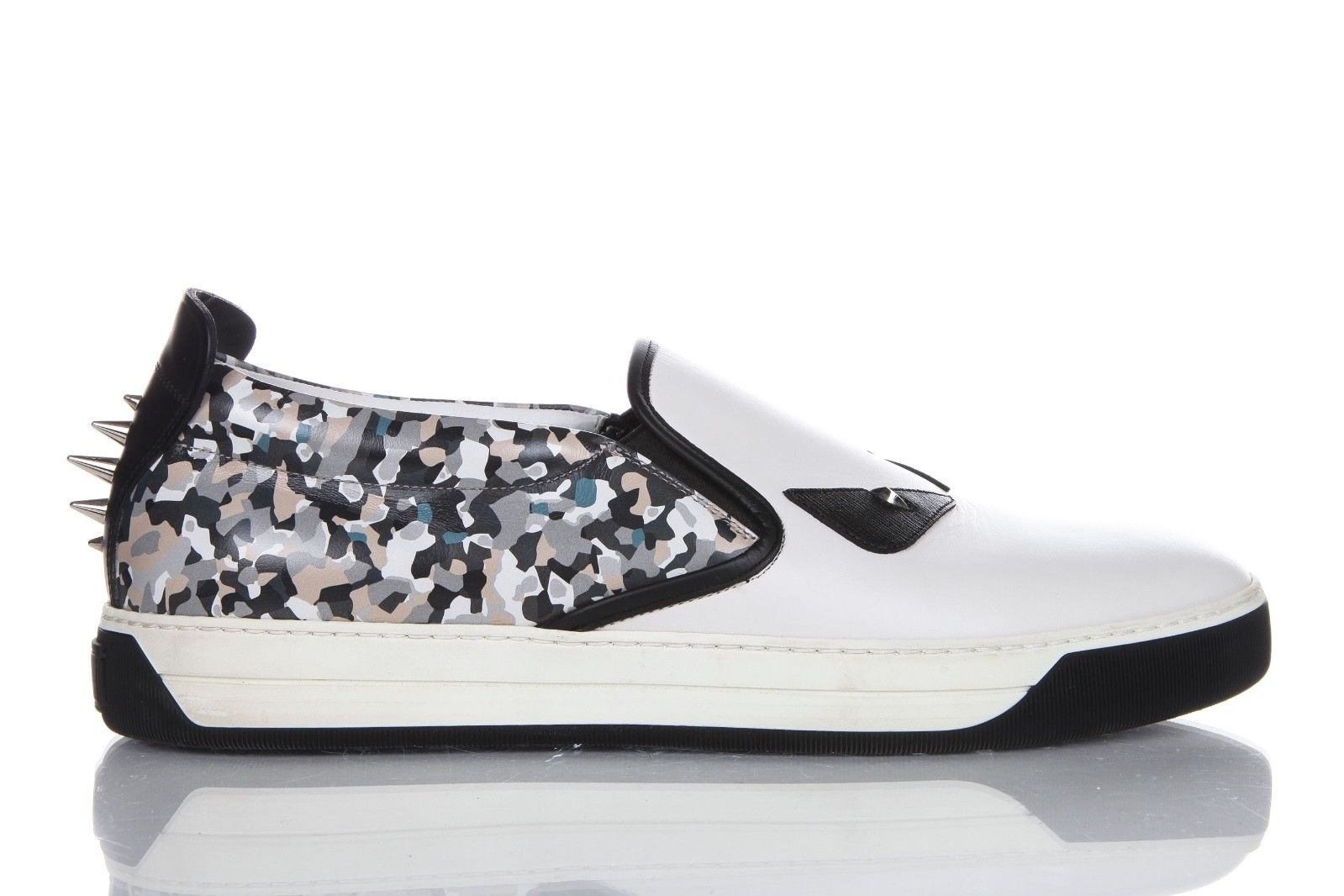 Fendi Monster Spike Sneakers Camo White