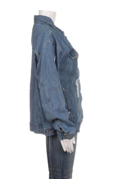 LOVE TREE Distressed Blue Denim Jacket Size L (New)