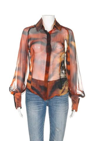 ROBERTO CAVALLI Silk Tiger Print Sheer Top Size M