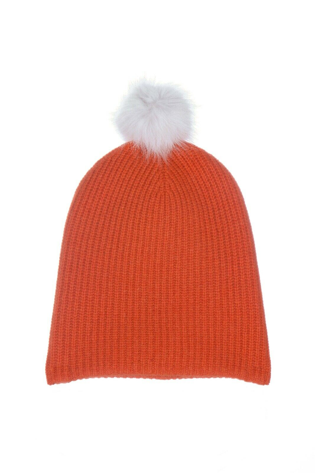RAG & BONE Cashmere Wool Blend Knit Beanie Hat With White Lamb Fur Pom