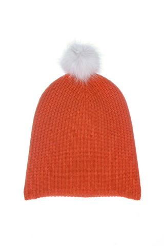 Cashmere Wool Blend Orange Knit Beanie Hat With White Lamb Fur Pom