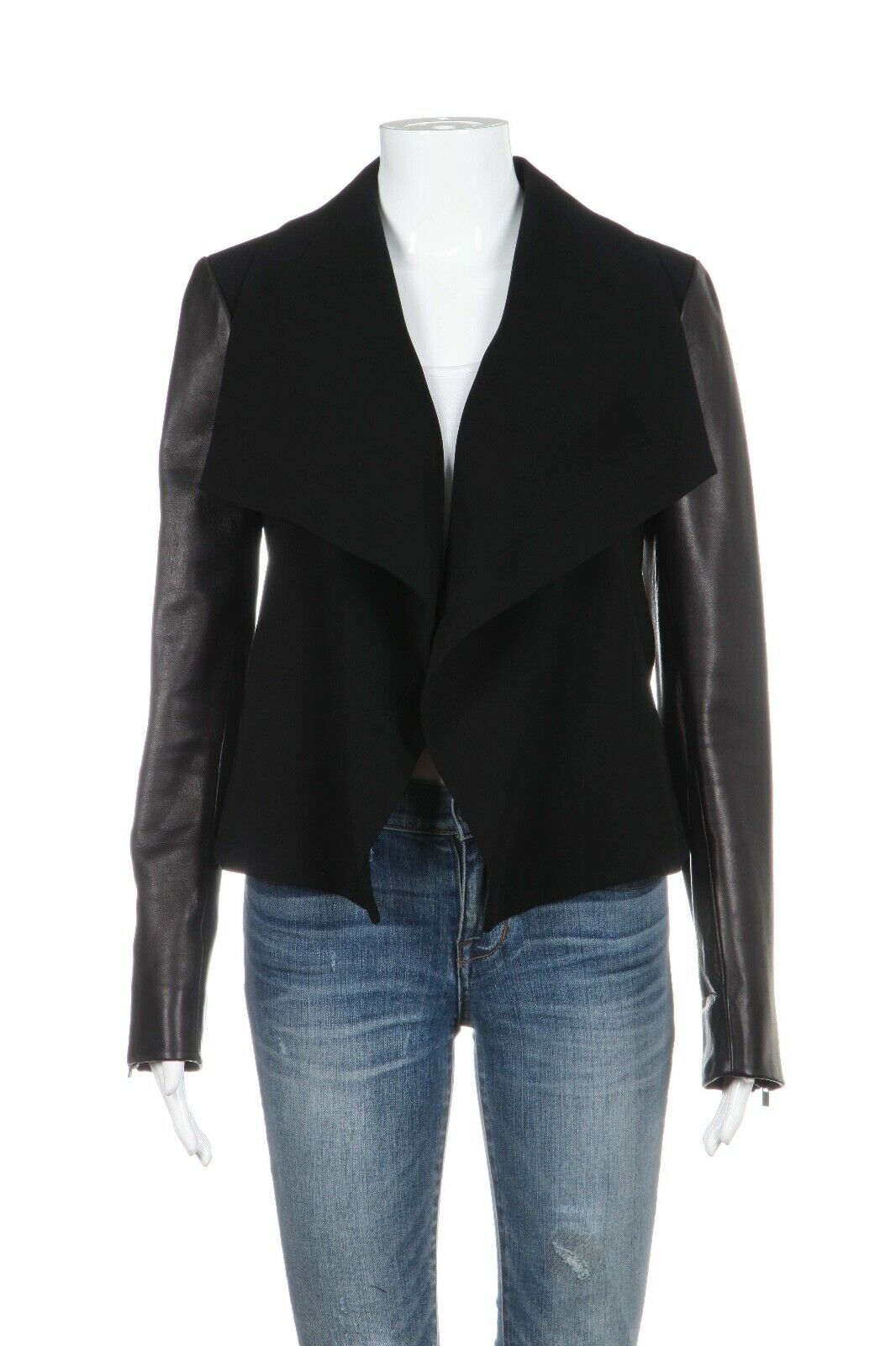 DIANE VON FURSTENBERG Leather Sleeve Open Jacket Size 2