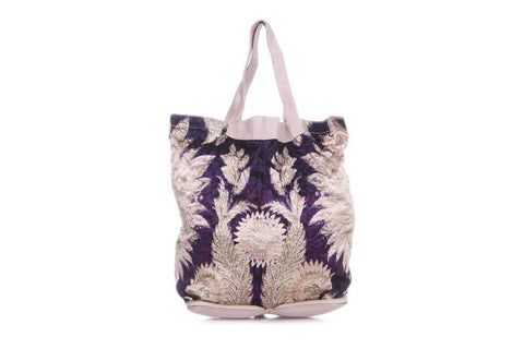 Purple Pink Convertible Print Tote Bag