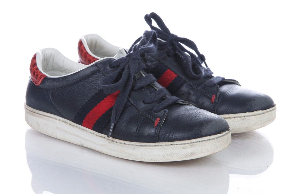 8e346f067 GUCCI Boys Blue Red Croc Leather Sneakers Size 12.5 EUR 30 – Style ...