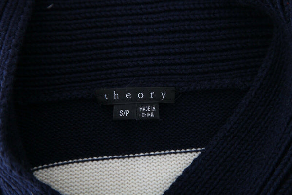 THEORY Navy Blue White Striped Sweater Wool Cashmere Size S