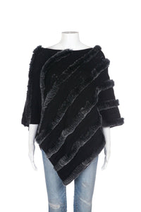 CLAUDIA NICHOLE Rabbit Fur Knit Poncho Top Size OS (New)