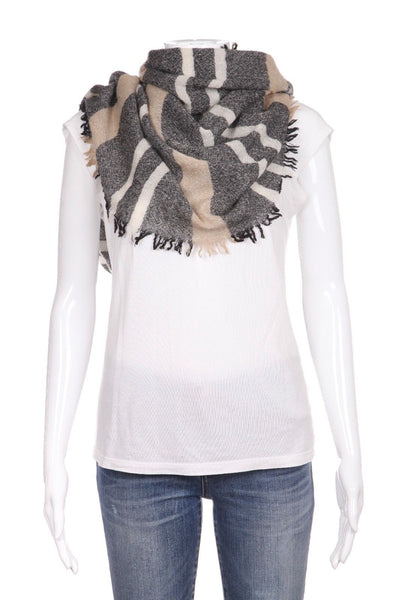 MADEWELL Black Beige Cream Striped Scarf