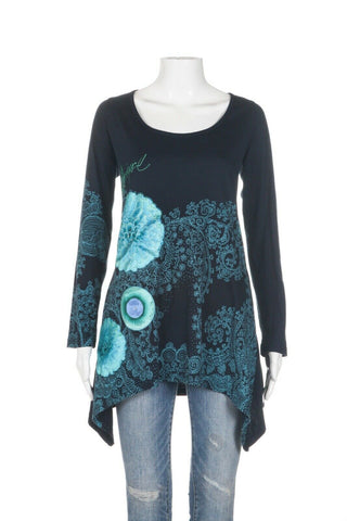 DESIGUAL Embroidered Long Sleeve Top Size XL